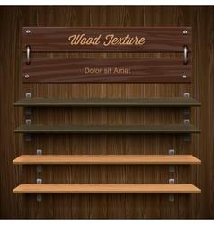 Blank wooden bookshelf vector