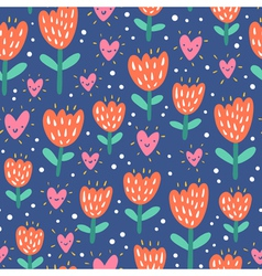 Valentine flowers and hearts vector