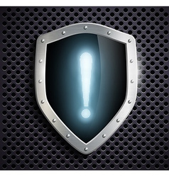 Metal shield with a exclamation mark vector