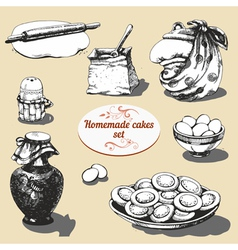 Homemade cakes set vector