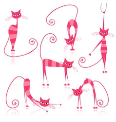 Cartoon striped cats vector