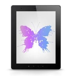 Tablet pc with butterfly grunge vector
