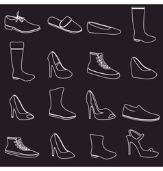 Boots and shoes white outline icons set eps10 vector