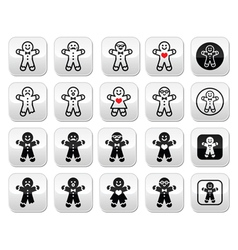 Gingerbread man christmas buttons set vector