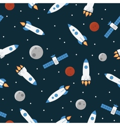 Seamless space pattern with rockets and stars vector
