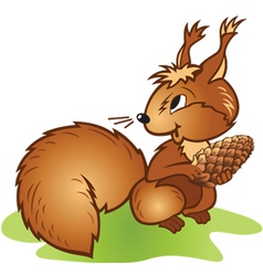 Squirrel pine cone vector