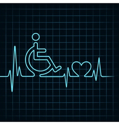 Heartbeat make handicapped and heart symbol vector