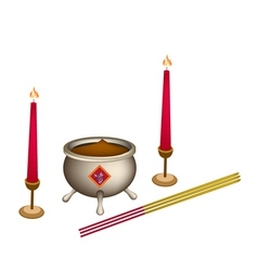 Candle and joss stick with incense burner vector