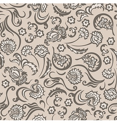 Pattern seamless floral beige vector