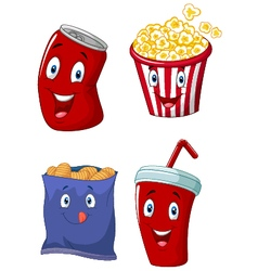 Popcorn soft drink french fries and potato chips vector