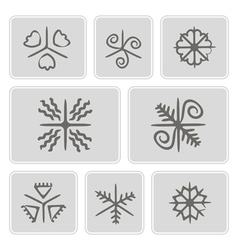 Icons with ukrainian easter egg ornamets vector