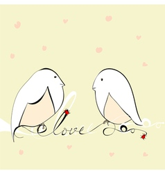Two bird with inscription love vector