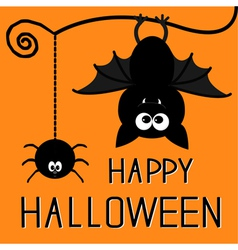 Cute bat and hanging spider happy halloween card vector