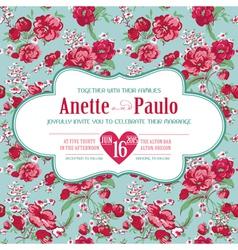 Wedding vintage invitation card floral pattern vector