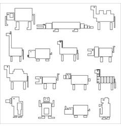 Black square outline digital simple retro animals vector