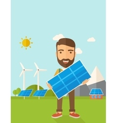 Man holding a solar panel vector