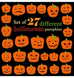 Set of funny jack-o-lanterns halloween vector