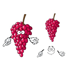Cartoon bunch of red grape fruit character vector