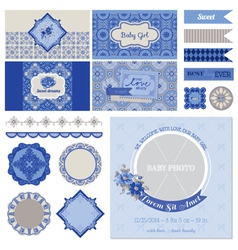 Baby shower flower party set vector