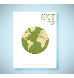 Report world map recycled paper craft stick vector