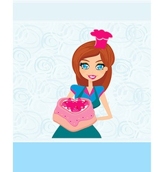 Housewife serving cake vector