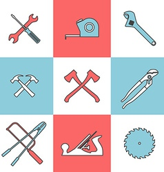Flat line icons set of handtools vector
