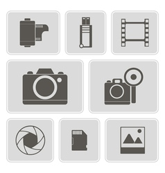Monochrome icons with photography theme vector