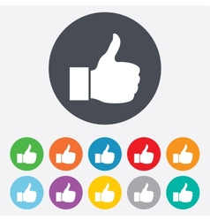 Like sign icon hand finger up symbol vector