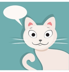 White cat flat vector
