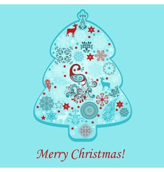 Greeting card with fir tree vector