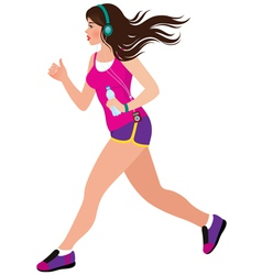 Young beautiful girl running vector