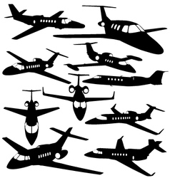 Silhouettes of private jet - contours of airplanes vector