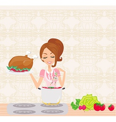Beautiful lady cooking soup and serving chicken vector