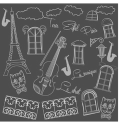 Background with saxophone on chalkboard vector