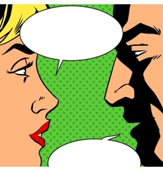 Man and woman talking comics retro style vector