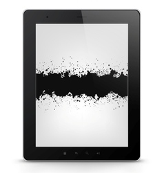 Tablet pc with grunge vector