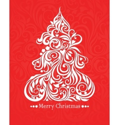 Card with christmas tree vector