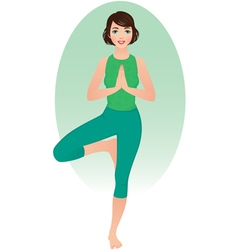 Girl practices yoga vector