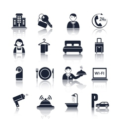 Hotel travel pictograms set vector