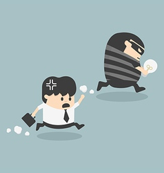 Thief stealing bulb from another businessman vector