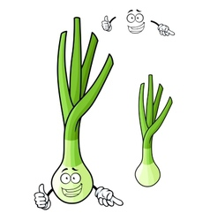 Funny spring onion vegetable cartoon character vector