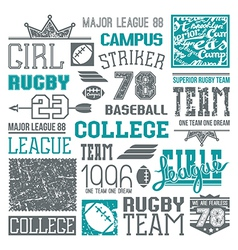Rugby and baseball team college design elements vector