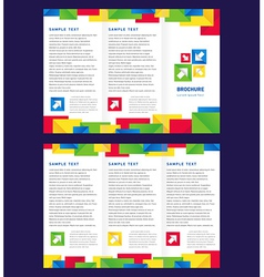 Brochure tri-fold layout design template colorful vector