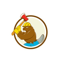 Beaver lumberjack wielding ax circle cartoon vector