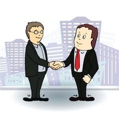 Full length side view of businessmen shaking vector