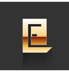 Gold letter e shape logo element vector