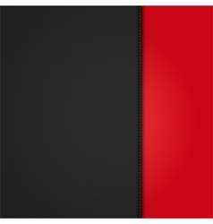 Black leather background panel on red vector