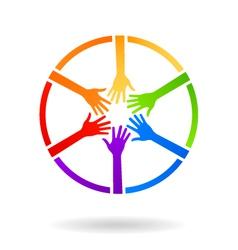 Circle team hands logo vector