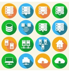 Hosting technology icons set vector