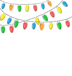 Flat christmas lights isolated on white vector